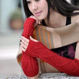 7 Цветов Мода Зима Женщины Вязать Ромб Пальцев Руки Теплые Перчатки Длинные Трикотажные Перчатки Зима Рука Рукав