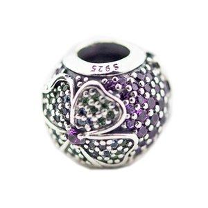 Novas autêntica prata esterlina 925 Bead Glorioso encantos das flores de cristal Beads Fit Marca Braceletes Acessórios Jóias DIY