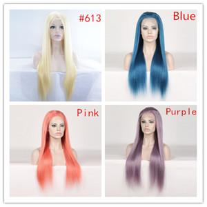 Siyah Kadınlar Için renk Dantel Ön İnsan Saç Peruk Perulu Peruk Remy Düz Mavi Turuncu Mor Bal Sarışın Peruk Bebek Saç Ile Preplucked