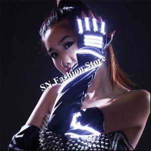 HN04 LED-Leuchten Ballroom Dance Handschuhe beleuchtet leuchtende Tanzhandschuhe Beleuchtung Event Party trägt für Kostüme Kleid Show-Performance LED