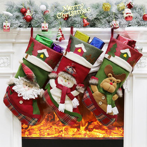 Weihnachtsstrümpfe Handgemachtes Handwerk Kinder Süßigkeiten Geschenk Weihnachtsmann Tasche Schneemann Hirsch Strumpf Socken Weihnachtsbaum Dekoration Spielzeug Geschenk # 22 23 24