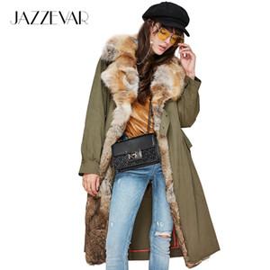 JAZZEVAR новая зимняя мода женщины настоящее Лисий мех воротник военная куртка съемная подкладка повседневная пальто длинные пиджаки бренд Clothing S18101503