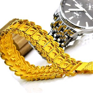Gold Plated Pure copper Bracelets Big Chunky Chain Bracelet 24K Gold Plated New Trendy Gift Hot Sale Men Jewelry Perfect Punk Accessories