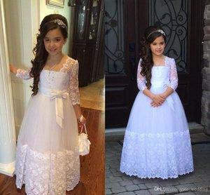 Nueva princesa linda Vestido de niña de flores Ilusión Encaje Mangas Perlas Arco precioso Largo Formal Vintage Flowergirl Vestido para boda Primera Comunión