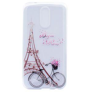 Cubierta transparente de TPU para LG K10 2017 decoración del color del caso Torre de la bici caja del teléfono del diseño de la muchacha de la mariposa