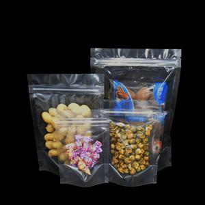 Çok boyutu 100 Adet / grup Stand Up Temizle Öz Seal Plastik Ambalaj Çanta Zip Kilit Sınıf Poli Somun Gıda Çikolata Doypack Ambalaj Torbalar