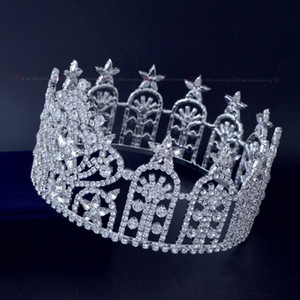 Concours de beauté Plein rond Crwns strass autrichien Cristal Assurance de la qualité Étoiles Miss USA Couronne Chapeaux Diadème Haute Qualité Mo238