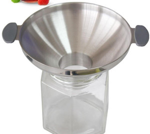 Stainless steel funnel double handle funnels juice jam pickle oil filling wide mouth funnel