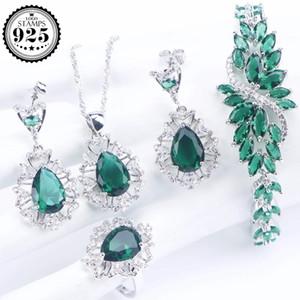 Green Zirconia conjuntos de joyería nupcial 925 Sterling Silver Wedding joyería de las mujeres pendientes anillo pulsera collar Set caja de regalo