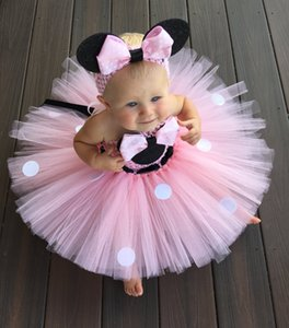 Lovely Girls Pink Cartoon Tutu Dress Baby 2layer Crochet Tulle Tutus With Dots Ribbon Bow And Headband Vestido de fiesta de cumpleaños para niños