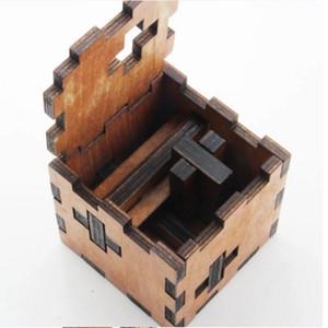 Venta al por mayor-Regalo de Navidad Kong Ming Luban Lock Niños Niños Juguetes de madera 3D Adulto Clásico Educativo Kids Toy Cube Juego Puzzles