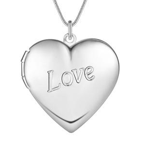 Venta al por mayor de fábrica 925 plata esterlina plateada LOVE corazón colgante Locket collar moda clásico Romance joyería regalo del día de San Valentín