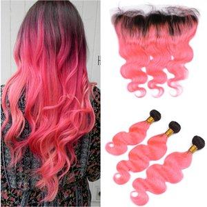 # 1B / Pink Ombre 브라질의 인간의 머리카락 3Bundles, 정면 바디 웨이브 Black and Pink 흉색 13x4 레이스 정면 폐쇄, Virgin Hair Wefts
