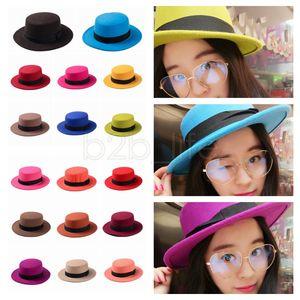 17colors Flat Top hats Fedora Jazz Hats Women Elegant Lady Fashion jazz party outdoor caps Stingy Brim winter warm Hats FFA1235 12PCS