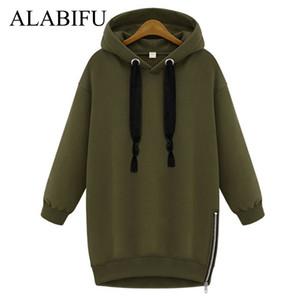 ALABIFU Lange Herbst-Winter Kleid 2018 Frauen BF Hoodies Sweatshirts Kleid-beiläufige Reißverschluss plus Größe harajuku Jacken-Mantel-Damen