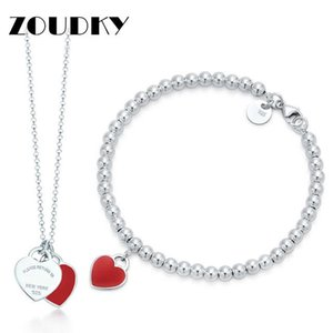 DORAPANG Heart Shaped Colar Pulseira 100% 925 Sterling Silver Red Pendant design simples Mulheres Para elegante Fine Jewelry