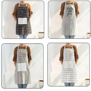 Ajustable a cuadros delantal del cocinero con Hombres y mujeres de bolsillo tela de algodón delantal de la cocina para cocinar Hornear gris 4style HH7-1794