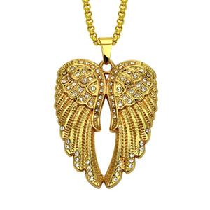 Neue Iced Out Angel Wings Anhänger Halskette Hip Hop Schmuck Neue Ankunft Gold Chain Kostenloser Versand
