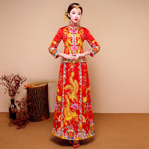 Nouvelle robe rouge traditionnelle de mariage chinois qipao Costume National Femmes Overseas Chinese Style de mariée cheongsam broderie S-XXL