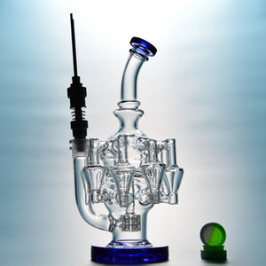 4mm Thick Recycker Glass Bong Matrix Perc Dab Oil Rigs Water Pipes Unique Water Bongs With 14mm Titanium Nail OA01