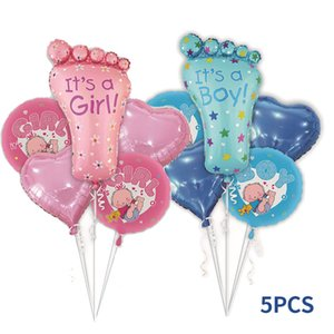 party decoration supplies5 pieces Baby 1st Birthday balloons set pink Blue Number Foil Balloons birthday party decorations kids