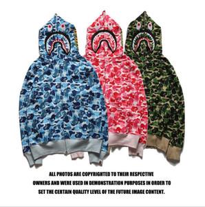 Марка Популярного Логотип Mens Shark печать с капюшоном толстовка подростковых животными Камуфляж Кардиган толстовка куртка Синего Зеленый Розовый скейтборд Hoodie