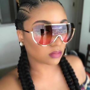 LongKeeper Yeni Boy Kalkanı Güneş Gözlüğü Büyük Çerçeve Alaşım Tek Parça Seksi Serin Güneş Gözlükleri Kadın Altın Temizle Gözlük Degrade