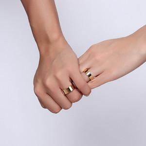 Vente en gros - Bague en acier titane plat de haute qualité pour les hommes et les femmes, paire de bague de mode pour anneau de visage lumineux en acier inoxydable