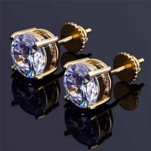 8mm Hip Hop CZ Ohrringe Für Männer Frauen Luxus Schraube Zurück Ohrringe Ring Voll Dimaond Hip Hop Ohrstecker Gold Schmuck