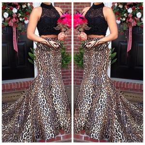 2018 Zweiteilige Schwarze Spitze Top Sexy Leopardenmuster Benutzerdefinierte Prom Kleider High Neck Formale Sweep Zug Meerjungfrau Abendkleid Party Kleider