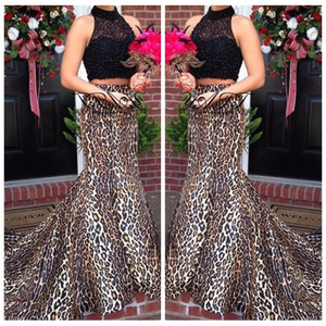 2018 Two Piece Black Lace Top Sexy Leopardo Impressão Personalizado Vestidos de Baile Alta Pescoço Formal Sweep Train Sereia Vestido de Noite Vestidos de Festa