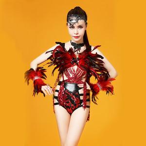 DS Songbird Negro Rojo Traje de Danza de Plumas Escenario Conjunto Traje Bandas de lentejuelas Conjunto de borlas Mujeres Ropa de baile Cantante Conjunto