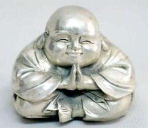 التبت الفضة القديمة يجلس يضحك بوذا تمثال صغير