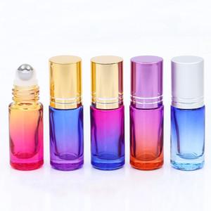 Farbverlauf 5ml Glas Roll-on Flaschen Flüssigkeit ätherische Öle Flasche mit Edelstahl Roller Ball und Aluminium Film Cap 200pcs