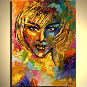 El yapımı soyut palet bıçağı ağır doku kız yağlıboya akrilik resimlerinde art deco resim sergisi satış yatak odası oturma odası