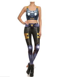 Женская одежда из двух частей устанавливает тощие брюки Holloween костюм костюмы длинные брюки без рукавов футболки жилет наряды панк 3D печати 2 шт. брюки