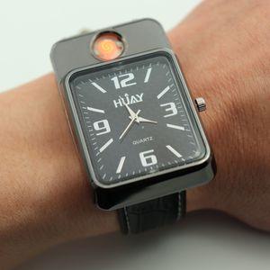 2018 남성 스포츠에 대 한 새로운 라이터 시계 쿼 츠 시계 패션 USB 충전 Flameless 담배 라이터 군사 캐주얼 손목 시계 F777