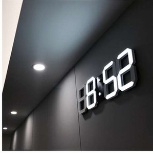3D LED Reloj de pared Moderno Digital Table Desktop Alarm Clock Nightlight Saat Wall Clock Para el hogar Sala de estar Oficina 24 o 12 horas