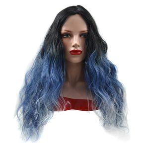 Pelucas de cabello sintético Deep Body Wave para mujer Negro Azul Granny Grey Pelucas sintéticas