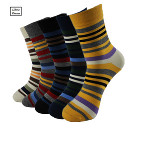 Fashion Colorful Socks Men Hit Color Stripes big dot Jacquard filled optic combed Cotton Male Sock business sock 5 pairs Lot