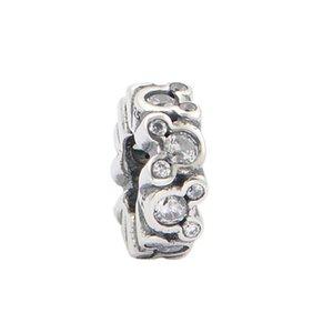 Distanziatore di cartone animato Charms Beads Original 925 Sterling-Silver-Jewelry Micro Clear Crystal Pave Charm Stopper Bead adatto Braccialetto di marca fai da te