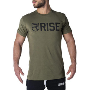 Free Shipping Rise Fitness Clothing Sports Tight Short-Sleeved T-Shirt Men'S Soft Round Neck T-Shirt Cotton Tops Letters Men's Tees