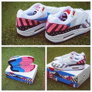 2018 Netherland Diseñador Piet Parra x 1 Blanco Multi Rainbow Running Shoes para Air 1 1s Mujeres Hombre Zapatillas deportivas Tamaño 36-45