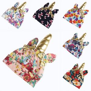 6 Farben Baby Einhorn Bowknot Hut Kinder Jungen Mädchen Winter Gedruckt Gestrickte Mützen Infant Bow Caps