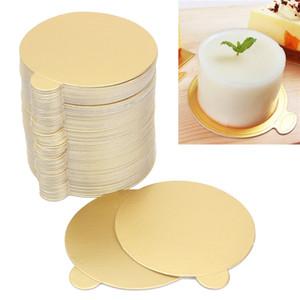 100 adet / takım Yuvarlak Mus Kek Panoları Altın Kağıt Cupcake Tatlı Görüntüler Tepsi Düğün Doğum Günü Pastası Pasta Dekoratif Araçları Kiti