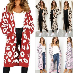 Otoño Invierno de Las Mujeres Casual Cardigan Largo Imprimir Crochet Blusa de Punto de manga larga Abrigos Suéteres Cardigans Tops Loose Knit Ropa Larga