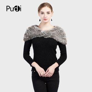 Pudi SF721 2018 Invierno de las mujeres del verdadero chal de piel de conejo nuevo estilo real de piel de Rex bufandas chales capa abrigo tippet poncho
