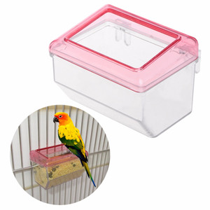 1Pc Pet Bird Parrots Feeder Acrylic Transparent Anti Spilling Food Feeding Box Hanging Birds Cage Accessories free shipping