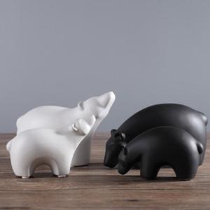 blanc en céramique concise ours polaire décor à la maison artisanat chambre décoration artisanat porcelaine figurines d'animaux de mariage décorations