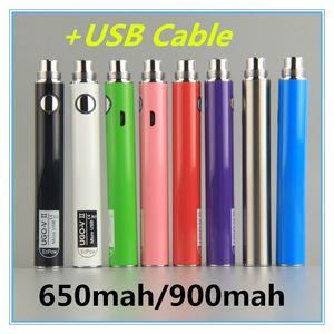 Vape Battery UGO V II 2 650 900mAh بطاريات micro USB العبور تهمة مع كابل USB المبخرات Vape الأقلام 510 السجائر السجائر الموضوع